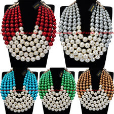 Fashion Gold Chain Resin Pearl Cluster Chunky Choker Statement Bib Necklace New