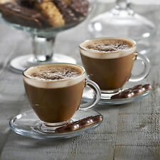 Set Of 2 Glass Cappuccino Cups And Saucers Set Chai Latte Tea Coffee 200ml New