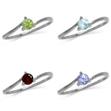 Peridot/Topaz/Garnet/Tanzanite White Gold Plated 925 Sterling Silver Ring