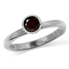 Natural Garnet 925 Sterling Silver Solitaire Stack/Stackable Ring
