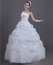 White Ivory&Sweetheart Lace Wedding Dress Strapless Bride Ball Gown 2015 New