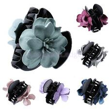 Girls Acrylic Cloth Flower Jaw Clip Barrette Hair Claw Accessories