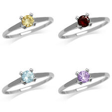 Citrine/Garnet/Topaz/Amethyst White Gold Plated 925 Sterling Silver Promise Ring