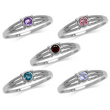 Garnet, Amethyst, Topaz, Tanzanite White Gold Plated 925 Sterling Silver Ring