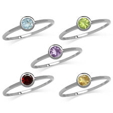 Amethyst/Topaz/Peridot/Garnet/Citrine White Gold Plated 925 Sterling Silver Ring