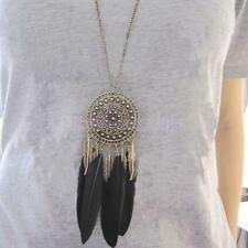 Vintage Long Chain Feather Leaf Tassel Bronze Plated Pendant Necklace Gift