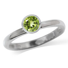 Natural Peridot 925 Sterling Silver Solitaire Stack/Stackable Ring