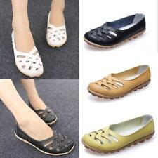 Womens Lady Casual Leather Ballet Flats Shoes Comfortable Oxfords Hollow Loafers