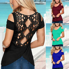Sexy Women Crochet Lace Back Casual Shirt Blouse Loose Tops Hollow-out Pierced