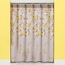 Spring Garden Floral Patterned Fabric Shower Curtain and 12-piece Hooks Set or S