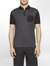 calvin klein mens slim fit colorblock mercerized polo shirt