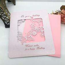 10/lot Handmade HAPPY BIRTHDAY Blank Greeting Card Hollow Butterfly-Pink/Ivory