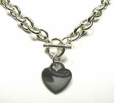 "Heart Charm Toggle Solid Sterling Silver Necklace (20"") + Bracelet Set (Med)"