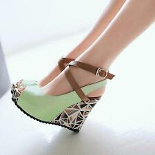 2016 Women's Wedge High Heel Ankle Strap Open Toe Platform Shoes Plus Size A789