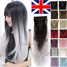 Full Head Clip In On Hair Extensions Remy Thick Brown Blonde Hair UK Seller L7a