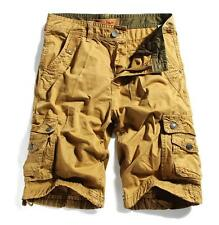 hot sale mens cotton blend pants cargo pockets casual beach summer shorts size@