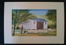 Original/Art/Painting/Watercolour/Sheep Landscape/by M.S.Wakefield