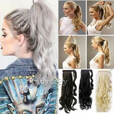 Clip In Ponytail Pony Tail Hair Extension Wrap On Hair Piece Wavy Straight LS1
