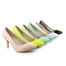 Women's Synthetic Leather Pointed Shoes Slim High Heels Shiny Pumps AU Size s434