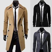 UN3F Mens slim fit Wool Long OverCoat Jacket Tops Double Breasted Coat Outwear