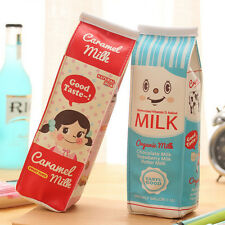 Novelty Milk Box Pencil Pen Case Roll Cosmetic Pouch Pocket Holder Makeup Bag TB