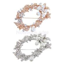 Leaf Crystal Rhinestone Pearls Flowers Brooches Pins Scarf Jewelry Gift