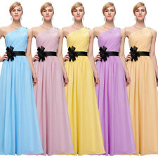 One Shoulder Full-length Evening Bridesmaid Prom Party Formal Chiffon Dress