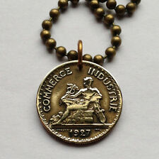 1920's France 50 centimes coin pendant French necklace nude body Paris n000884