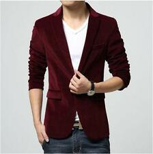 Mens Fashion Slim fit One Button Velvet Suit Casual Blazer Jacket Coat Sz M-3XL