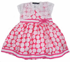 Girls Dress With Lace Bolero Jacket 2Y TO 6Y Pink Dress With White Polka Dots