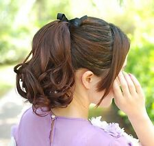 """3 Color Fashion Women Nature Curly 50% Human Hair Tie Up Ponytail Wig 15.7""""PO261"""
