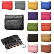 Ladies Kids Men Leather Small Coin Card Key Ring Wallet Pouch Mini Purse Tickets