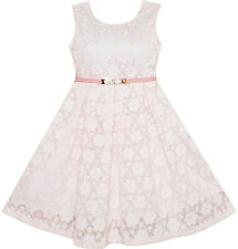 Flower Girl Dress Floral Lace Jeweled Pearl Sash Wedding Pageant Pink Size 4-14