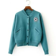New Womens Fashion Embroidered Patch Long Sleeve Knitted Sweater Cardigan Coat