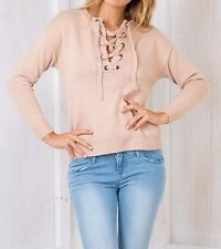 New Womens Lace Up Front Long Sleeve Knitted Pullover Sweater Jumper 3 Colors