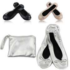 Roll Up Fold Pumps Flats after Party Shoes Pocket WITH Foldable Bag