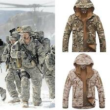 New Men's Camouflage Military Fleece Linning Hooded Coat Army Jacket Outweear Sz