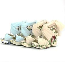 AU Size Net Cloth Strap Buckle Wedge High Heel Girl's Sandals Lady Shoes s347