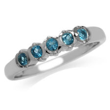 5-Stone Genuine London Blue Topaz Gold Plated 925 Sterling Silver Ring