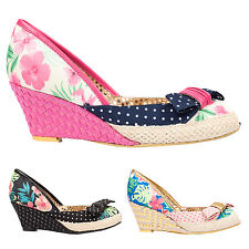 Poetic Licence Charmed Life Tropical Floral 1950s Retro Vintage Wedges Shoes