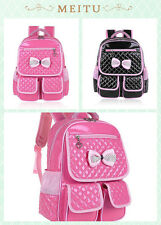 Children Sweety Girls Leather Bow School Backpack Bags Primary Students Rucksack