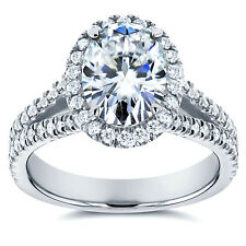 Oval Moissanite and Halo Diamond Engagement Ring 2 CTW in 14k White Gold
