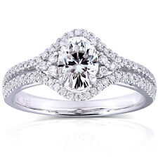 Oval Moissanite and Diamond Engagement Ring 1 1/6 CTW in 14k White Gold