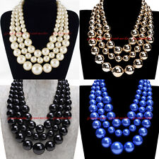 Fashion Resin Pearl Beads Chain Chunky Choker Statement Pendant Bib Necklace US