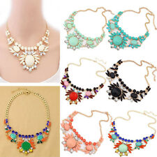 Flower Clear Crystal Jewelry Chunky Pendant Chain Statement Bib Choker Necklace