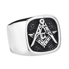 Men Titanium Stainless Steel Freemason Ring Masonic Lodge Ring For Cool Jewelry