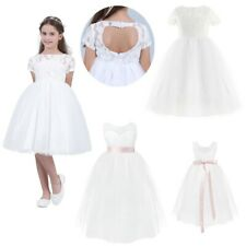 White Flower Girl Dress Communion Confirmation Junior Wedding Lace Tulle Heart