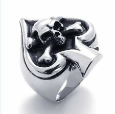 Mens 316L Solid Stainless Steel Ring Silver Black Cross Biker Ring Free Ship7-15