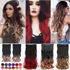"""Thick Ombre Clip In Hair Extensions Straight Curly 25""""Dip Dye Hair Extension L5H"""