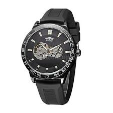 WINNER Mens Skeleton Automatic Mechanical Silicone Strap Sport Wrist Watch Q4M2
